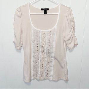 WHBM Beige Scoop Neck Silver Studded Blouse